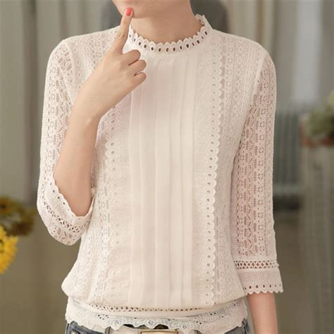White Lace Skirt And Blouse by Aliexpress Buy Autumn Casual White Lace Blouse