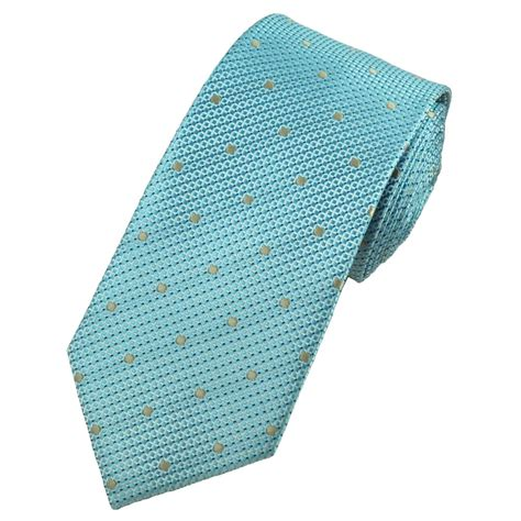 aqua blue micro checked gold beige polka dot tie from
