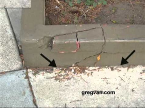 Concrete Curb Crack With Rebar   Soil Settlement Building