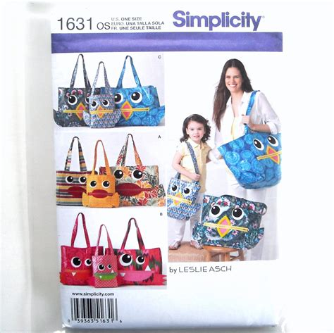 pattern games dvd leslie mcdevitt leslie asch totes 3 sizes simplicity sewing pattern 1631