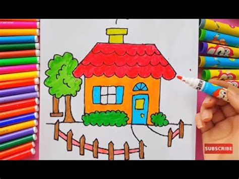how to color a house drawing and painting a house for children to learn colors