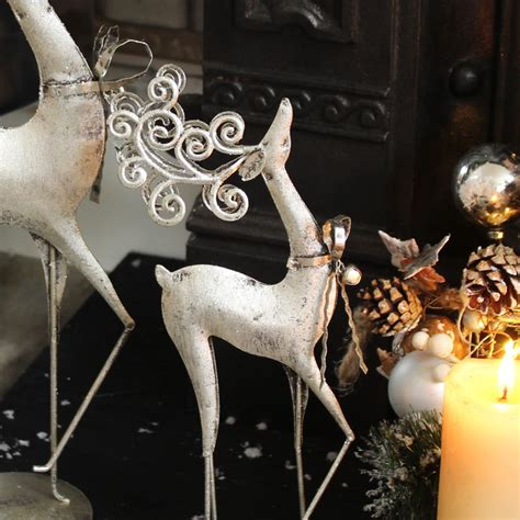 set of 2 silver reindeer melody maison 174