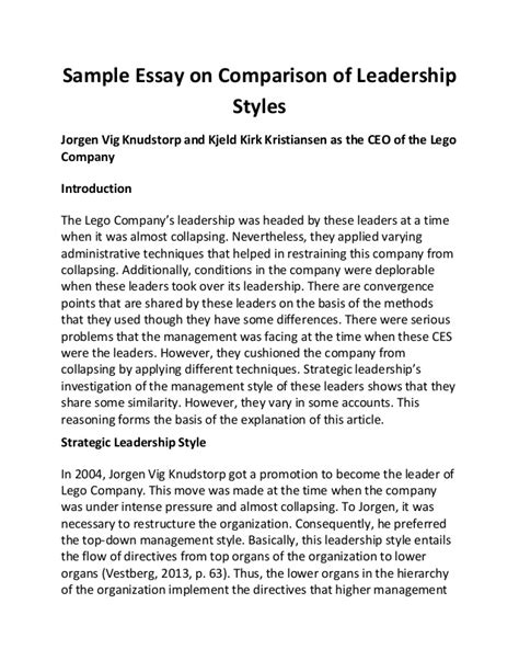 Leadership Styles Essay by Sle Essay On Comparison Of Leadership Styles