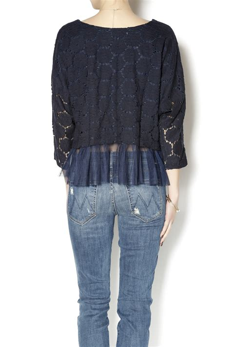 Peplum Top Mn 7001 alythea navy lace peplum top from minnesota by the stash shoptiques