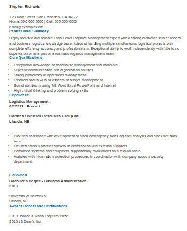 sle resume entry level management position entry level logistic 28 images logistics resume