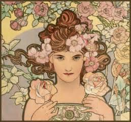 mucha alphonse les fleurs the rose 1898 plum leaves