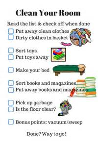 parenting checklist clean your room rls creativity