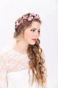 Headband With Flower - pink flower crown wedding headpiece flower crown bridal