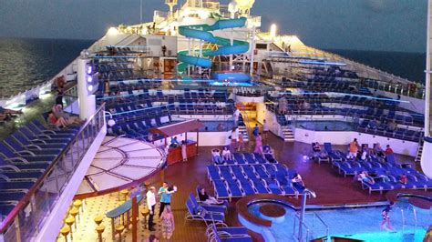 carnival triumph lido deck pool cruising the open sea
