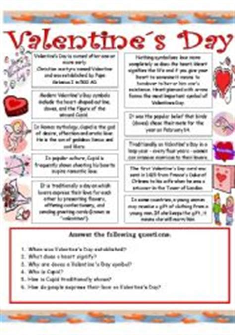 valentines reading comprehension worksheet exercises special occasions