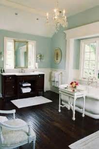 light blue bathroom walls dark hardwood floors light wood ceilings soft green