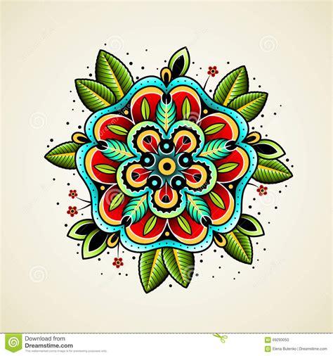 design flower school old school tattoo flower stock vector image 69293050