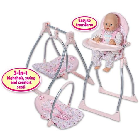 3 in 1 swing baby annabell 3 in 1 highchair swing and comfort seat
