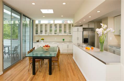 Shabby Chic Window Treatments - open galley kitchen and dining area contemporary