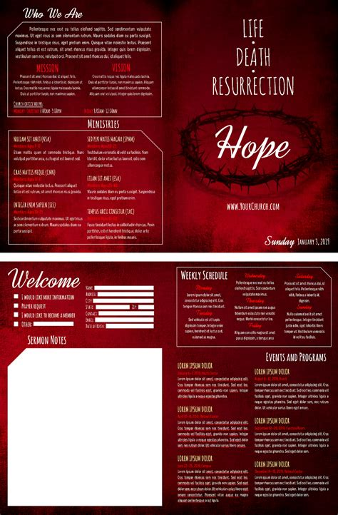 templates for church bulletins 8 free church bulletin templates