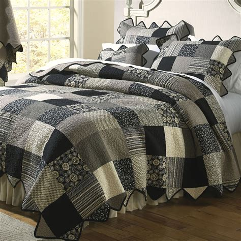 Black Patchwork Quilt - patch patchwork quilt bedding by donna sharp