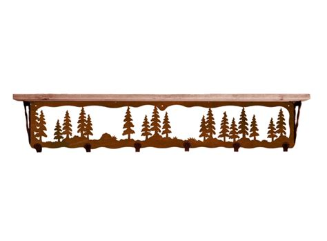 42 quot pine trees metal wall shelf and hooks with pine wood