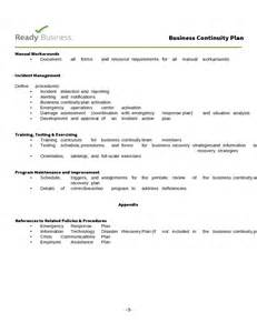 continuity template simple business continuity plan template free