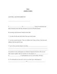 Free Simple Will Template by Best Photos Of Printable Last Will And Testament Format