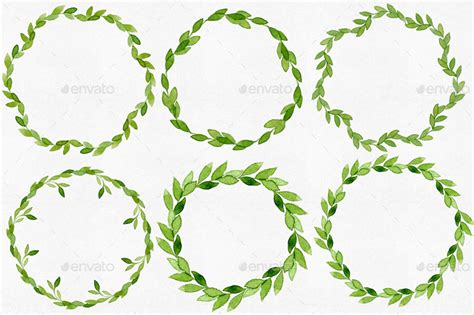 12 watercolor leaves wreaths by helga wigandt graphicriver