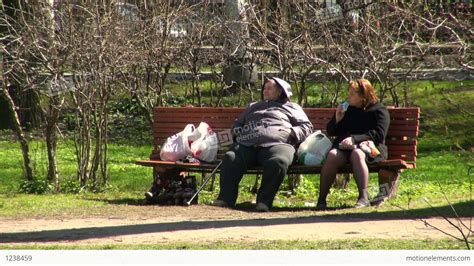 fat lady on bench fat women on the bench stock video footage 1238459