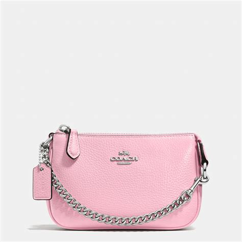 Coach Signature Pink Large coach nolita wristlet 15 in pebble leather in pink lyst