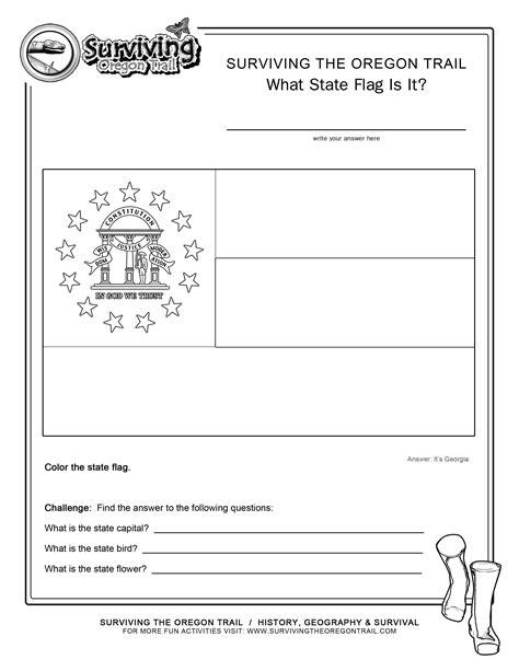 coloring page state flag georgia printable worksheet