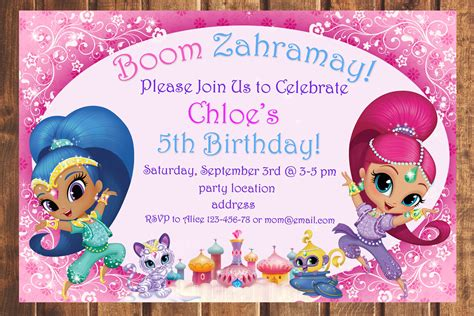 Sale Shimmer And Shine Birthday Invitationshimmer And Shine Shimmer And Shine Invitations Templates