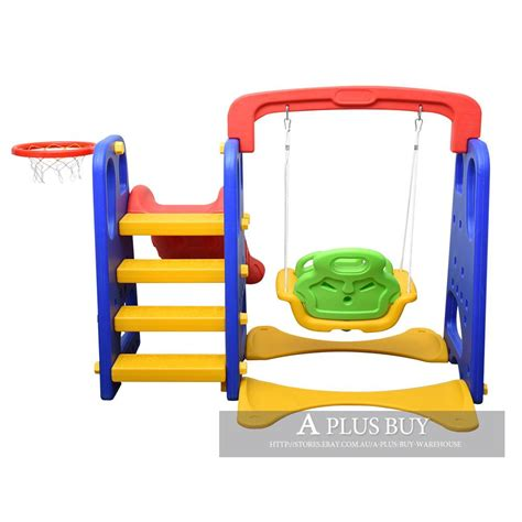 indoor swing and slide kids toddler fun swing slide activity set basketball