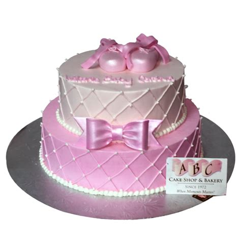Baby Shower 2 Tier Cakes by 2072 2 Tier Pink Baby Shower Cake Abc Cake Shop Bakery