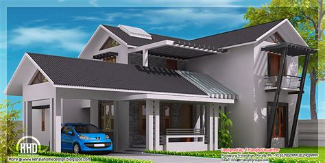 Modern mix sloping roof home design   Indian Home Decor