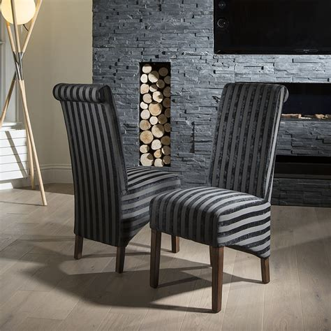 Luxury High Back Dining Room Chairs Luxury Set Of 2 High Back Fabric Dining Chairs Black V
