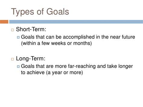 types of goals lifetime short term long term