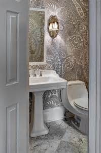 wallpaper designs for bathrooms paisley wallpaper transitional bathroom design