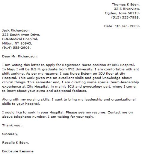 medical and nursing cover letter exles