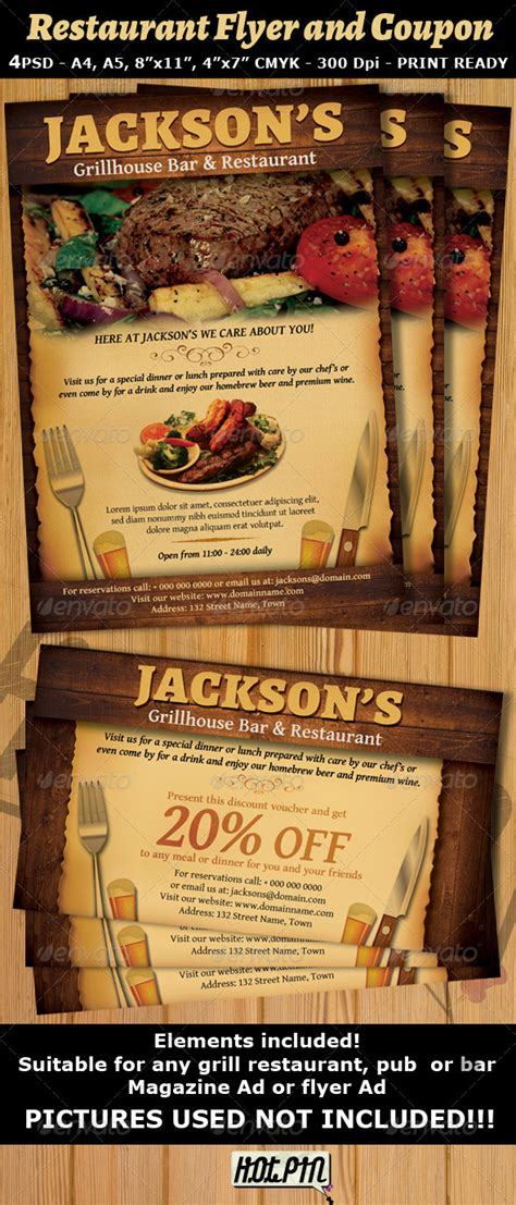Restaurant Bar Magazine Ad Or Flyer Template V2 By Hotpin Graphicriver Restaurant Ad Template