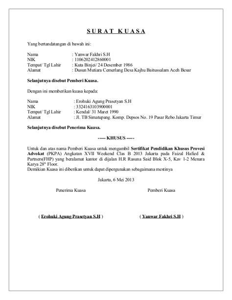 contoh surat kuasa untuk pengambilan paspor wisata dan