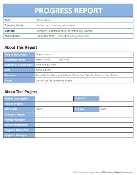 progress report template progress report templates sanjonmotel