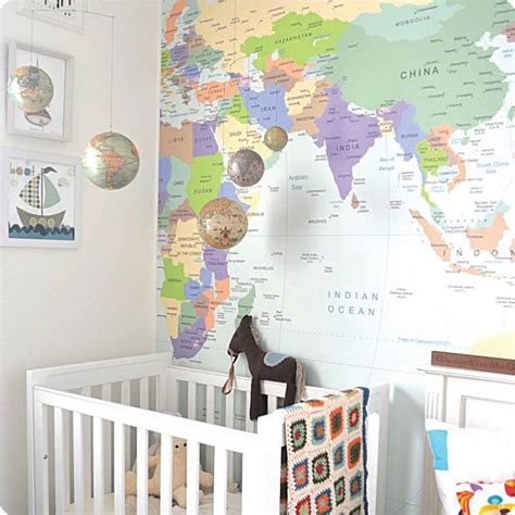 Wallpaper Sticker Travel mad for mid century map wall stickers for a travel nursery