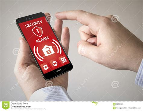 Alarm Mobil Up touchscreen smartphone with security alarm on the screen stock photo image 59729825