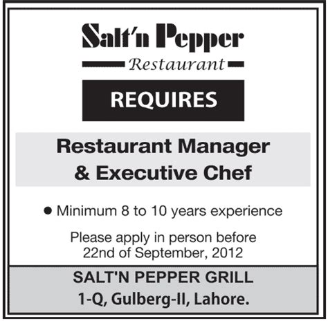 What Is The Minimum Experience Required For Executive Mba by Salt N Paper Restaurant Manger And Executive Chef