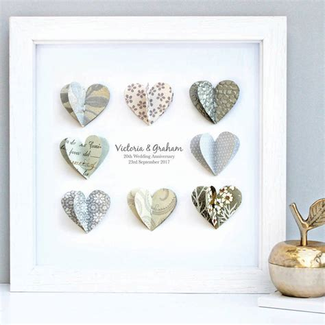 Wedding Anniversary Paper by Personalised Silver Anniversary Paper Hearts By Sweet