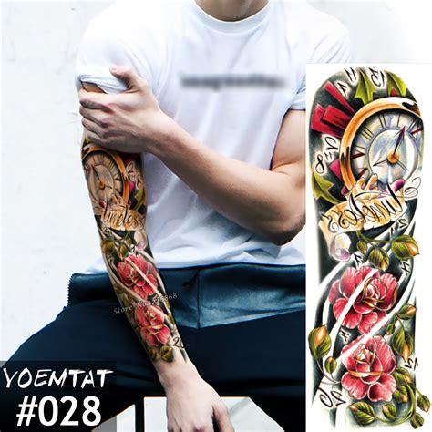 one piece fake tattoo new 1 piece temporary tattoo sticker color clock roses