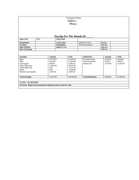 pay stub template document sle business pinterest