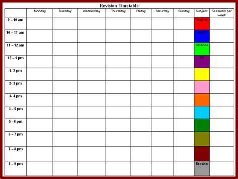 timetable template timetable templates for school in excel format excel