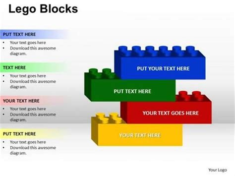 Create A Building With Lego Blocks 4 Stages Business Concept Powerpoint Diagram Building Blocks Template