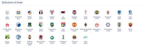 teste di serie europa league sorteggio sedicesimi europa league diretta live