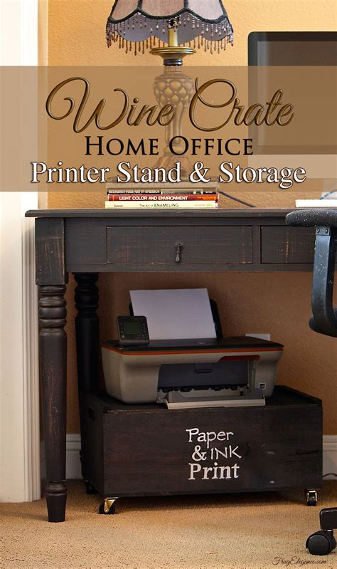 printer stand ideas wine crate home office printer stand storage frugelegance