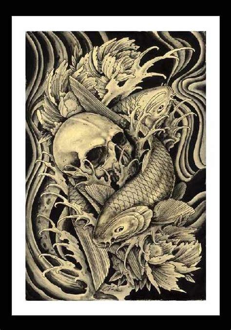 tattoo koi fish skull koi skull by clark north japanese fish asian traditional
