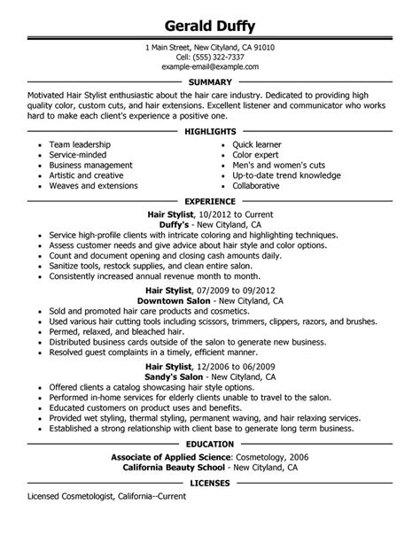 sles of cv for hairdresser resume format